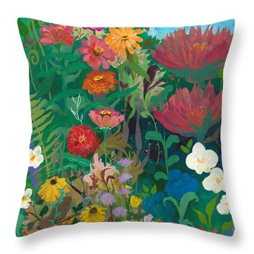 Zinnias Garden Throw Pillow