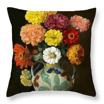 Zinnias In Decorative Italian Vase Throw Pillow