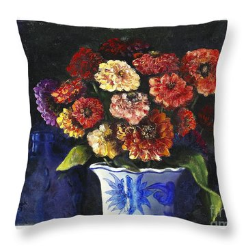 Throw Pillow featuring the painting Zinnias by Marlene Book