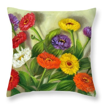 Throw Pillow featuring the painting Zinnias by Randol Burns
