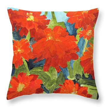 Throw Pillow featuring the painting Zinnias by Sandy McIntire