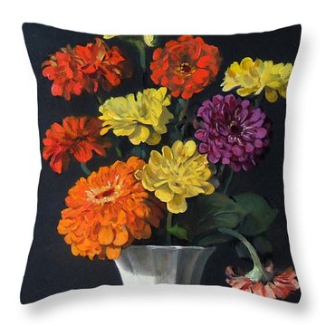 Zinnias Showing Their True Colors In White Vase Throw Pillow