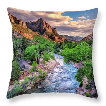 Zion Canyon At Sunset Throw Pillow