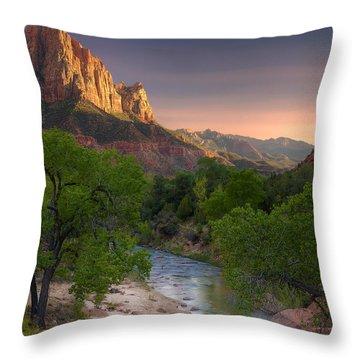 Zion Canyon Sunset Throw Pillow