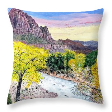 Throw Pillow featuring the painting Zion Creek by Kevin Daly
