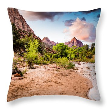 Zion National Park At Dawn Throw Pillow
