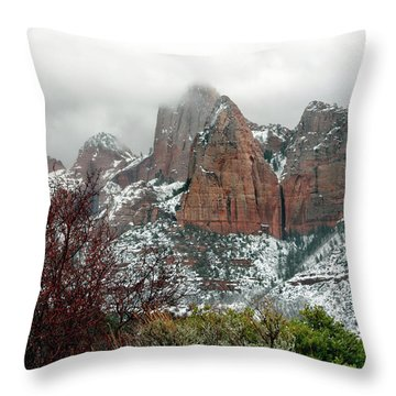 Zion Winter Skyline Throw Pillow