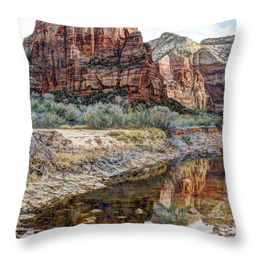 Zions National Park Angels Landing - Digital Painting Throw Pillow