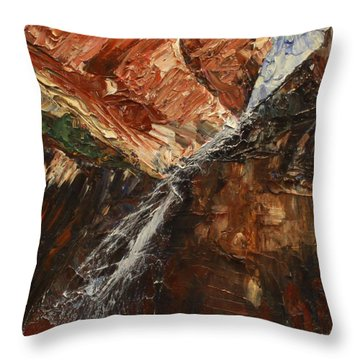 Zions Waterfall Throw Pillow by Jane Autry