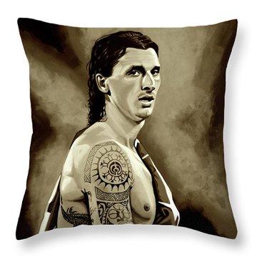 Zlatan Ibrahimovic Sepia Throw Pillow