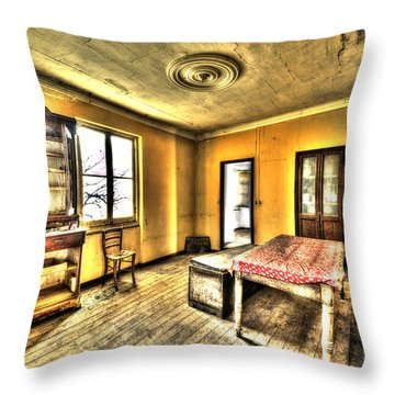 Throw Pillow featuring the photograph Zoagli Abandoned Home Meeting Room by Enrico Pelos