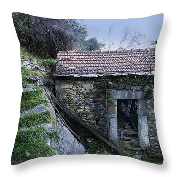 Throw Pillow featuring the photograph Zoagli Ancient Stones House With Stairs In The Wood by Enrico Pelos