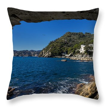 Throw Pillow featuring the photograph Zoagli And Rapallo Sea Panorama From The Grotto by Enrico Pelos