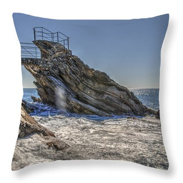 Throw Pillow featuring the photograph Zoagli Cliffs With Waves And Passage by Enrico Pelos