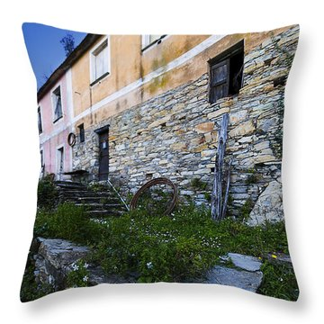 Throw Pillow featuring the photograph Zoagli Old Abandoned Country Home In Spring Time 2 by Enrico Pelos