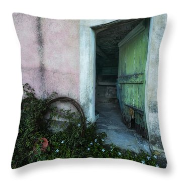 Throw Pillow featuring the photograph Zoagli Old Abandoned Door With Flowers by Enrico Pelos