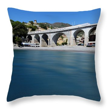 Throw Pillow featuring the photograph Zoagli Smooth Waves Beach With Train Bridge by Enrico Pelos