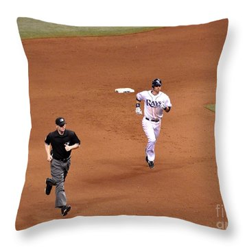 Zobrist On The Run Throw Pillow by John Black