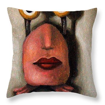 Zoe 1 Little Alien Throw Pillow by Leah Saulnier The Painting Maniac