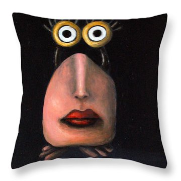 Zoe 2 The Little Alien Throw Pillow by Leah Saulnier The Painting Maniac