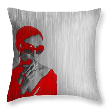 Zoe In Red Throw Pillow