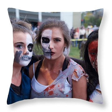 Zombie Girls Throw Pillow by Vinnie Oakes