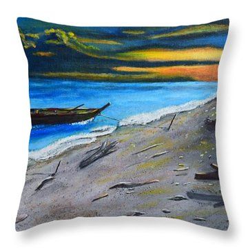 Zombie Island Throw Pillow by Melvin Turner