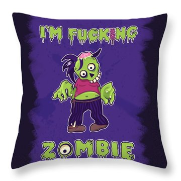 Throw Pillow featuring the digital art Zombie by Julia Art