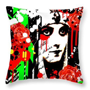Zombie Queen Roses Throw Pillow by Chris Andruskiewicz