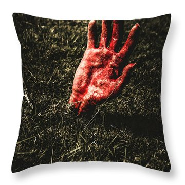 Zombie Rising From A Shallow Grave Throw Pillow