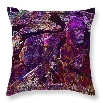 Throw Pillow featuring the digital art Zoo Monkey Animal  by PixBreak Art