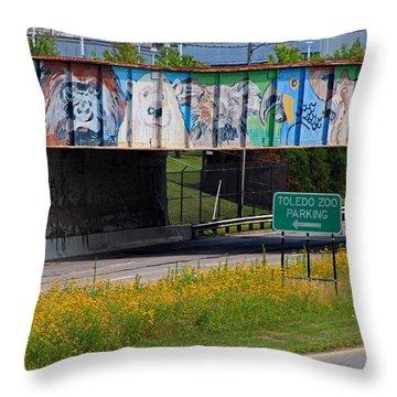 Zoo Mural Throw Pillow