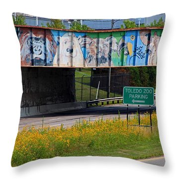 Zoo Mural Throw Pillow by Michiale Schneider