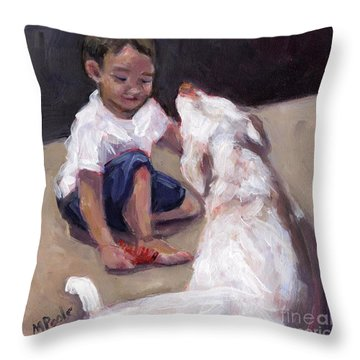 Zoom Groom Throw Pillow by Molly Poole