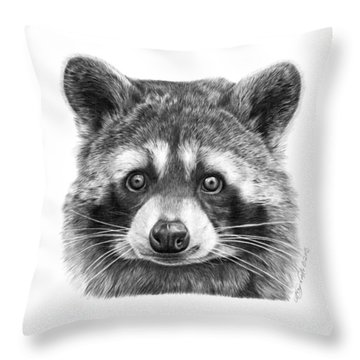 046 Zorro The Raccoon Throw Pillow by Abbey Noelle