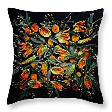 Zucchini Flower Patterns Throw Pillow