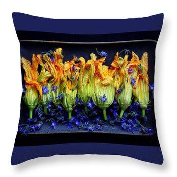 Zucchini Flowers Throw Pillow