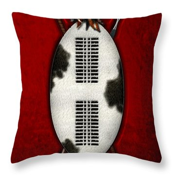 Zulu War Shield With Spear And Club Throw Pillow