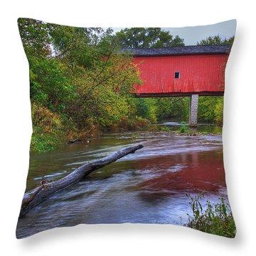 Zumbrota Minnesota Historic Covered Bridge 5 Throw Pillow