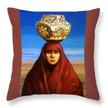 Zuni Woman Throw Pillow by Jane Whiting Chrzanoska