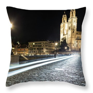 Zurich Night Rush In Old Town Throw Pillow