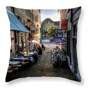 Zurich Old Town Cafe Throw Pillow by Jim Hill