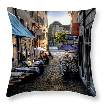 Zurich Old Town Cafe Throw Pillow