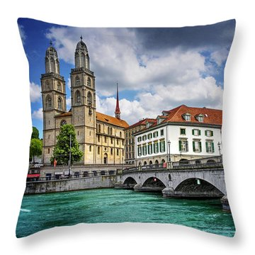Throw Pillow featuring the photograph Zurich Old Town  by Carol Japp