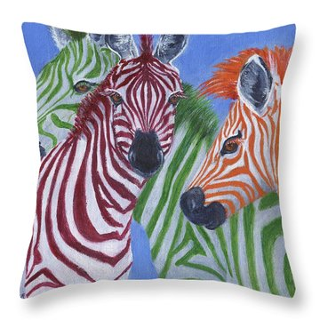 Throw Pillow featuring the painting Zzzebras by Jamie Frier