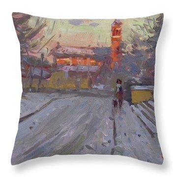 A Cold Winter Sunset Throw Pillow
