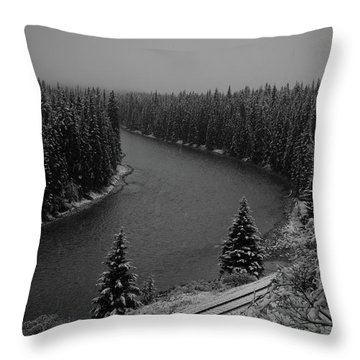 A View From The Side Of The Bow Valley Parkway, Banff National P Throw Pillow
