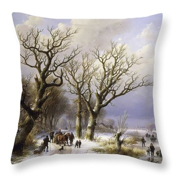 A Wooded Winter Landscape With Figures  Throw Pillow