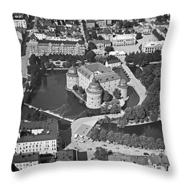 Aerial Photo Of Orebro, With Orebro Castle, Built In 1573-1627 Throw Pillow
