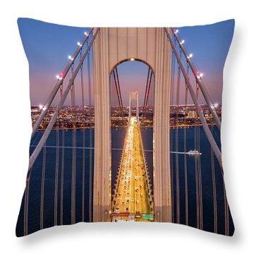 Aerial View Of Verrazzano Narrows Bridge Throw Pillow